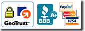 Shop with confidence - Secure Site; A+ merchant rating from the Better Business Bureau